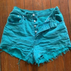 Teal High Waisted Jean Shorts